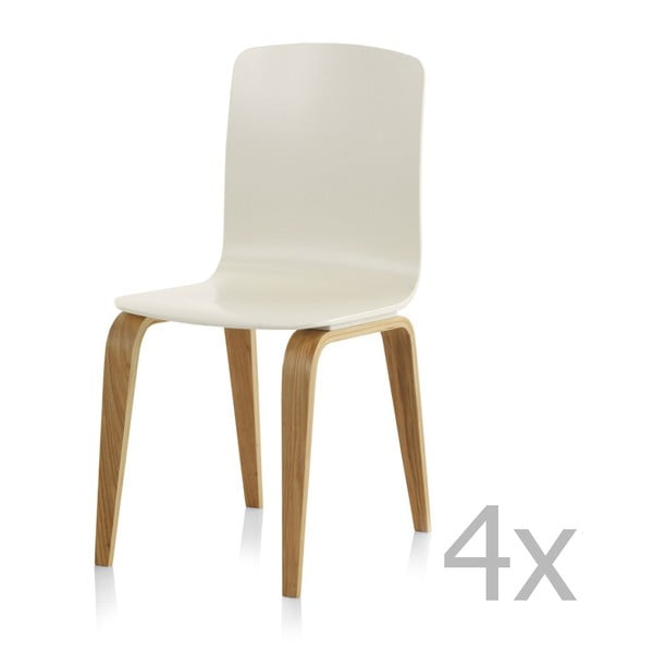 Zestaw 4 białych krzeseł Geese
