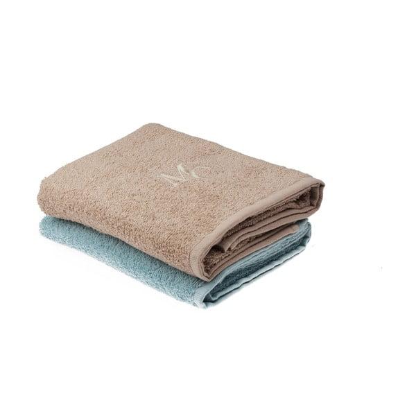 Sada modrého a hnědého ručníku Sally