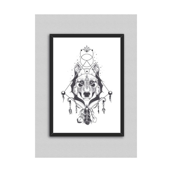 Poster cu ramă North Carolina Scandinavian Home Decors Indian Wolf