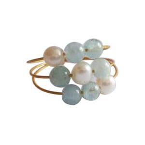 Zlatý prsten Pearl and Aquamarine Confetti, vel. 52 (perly a akvamarín)