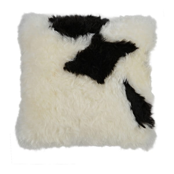 Černobílý kožešinový polštář s krátkým chlupem Spotted, 35x35cm