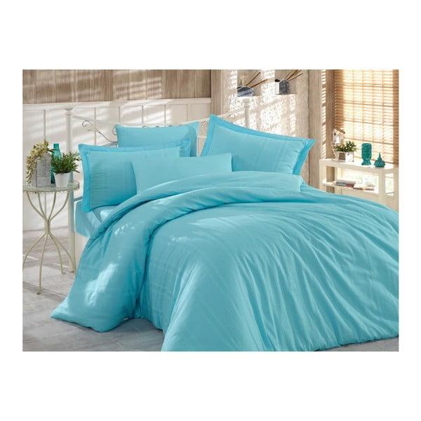 Lenjerie de pat cu cearșaf Stripe, 200 x 220 cm, albastru