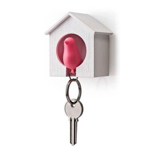 Věšák na klíče vrabčák v budce, růžová