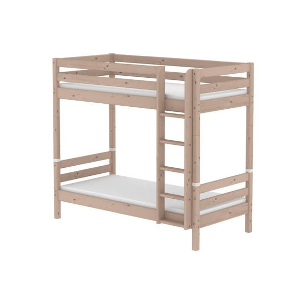 Brązowe wysokie dziecięce łózko piętrowe z drewna sosnowego Flexa Classic, 90x200 cm