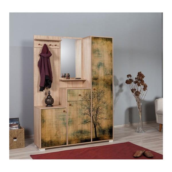 Hnědá předsíňová stěna se zrcadlem Kardelen Tree, výška 188 cm