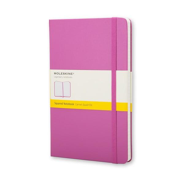 Růžový zápisník Moleskine Magenta Hard, malý, čtverečkovaný