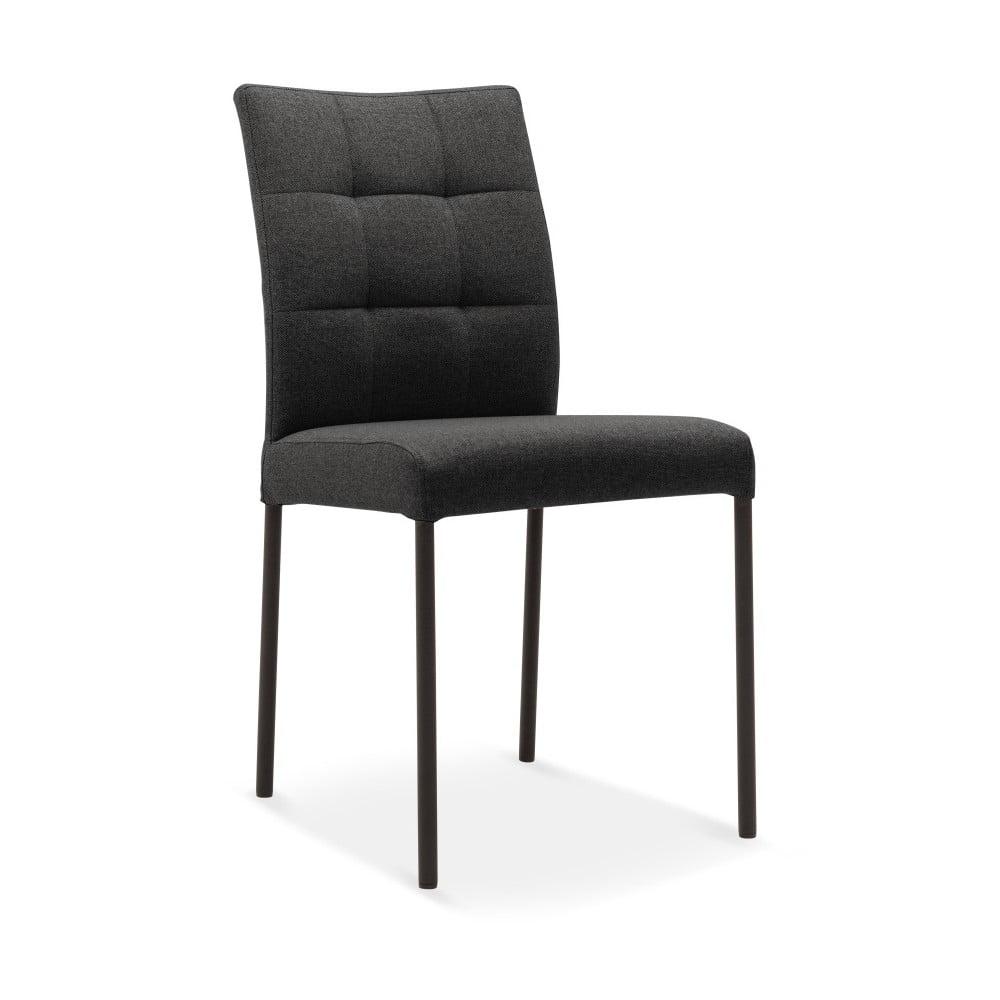 Tmavě antracitová jídelní židle s černými nohami Mossø Mone