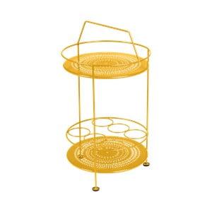 Žlutý zahradní barový stolek Fermob Montmartre, Ø 40 cm