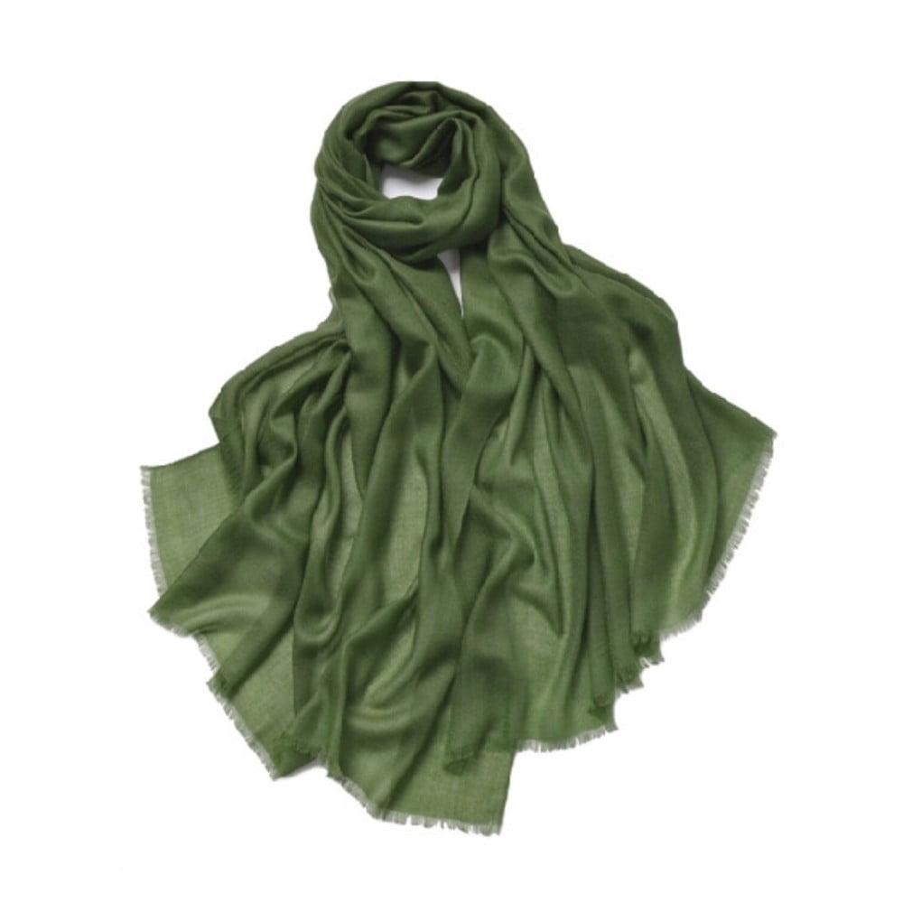 Zelená tenká kašmírová šála Bel cashmere Clara, 200 x 90 cm