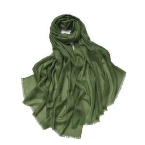 Zelená tenká kašmírová šála Bel cashmere Clara, 200x90cm