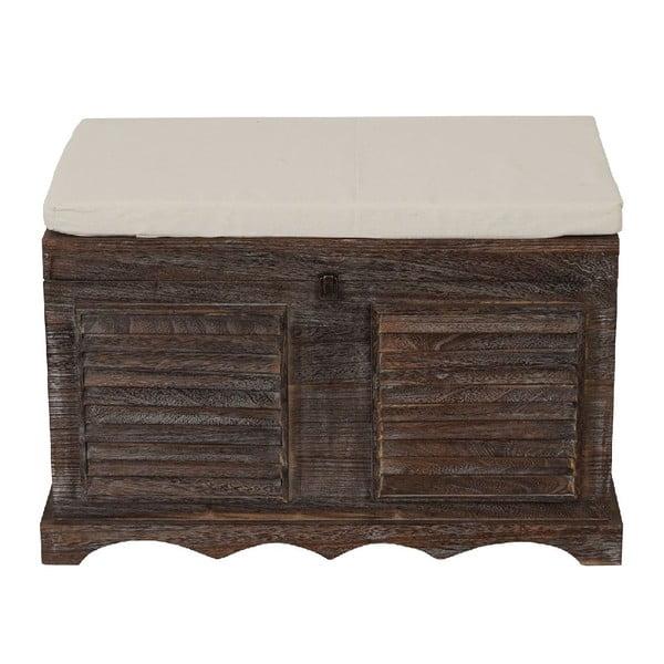 Hnědá dřevěná lavice s úložným prostorem Mendler Shabby
