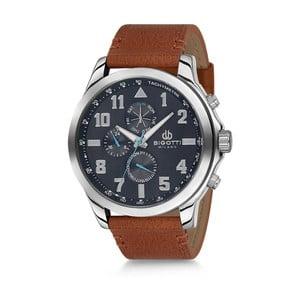 Pánské hodinky s hnědým koženým řemínkem Bigotti Milano Duran