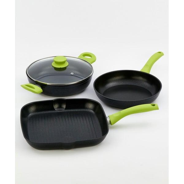 4dílný set nádobí se zelenou rukojetí Bisetti Black Diamond