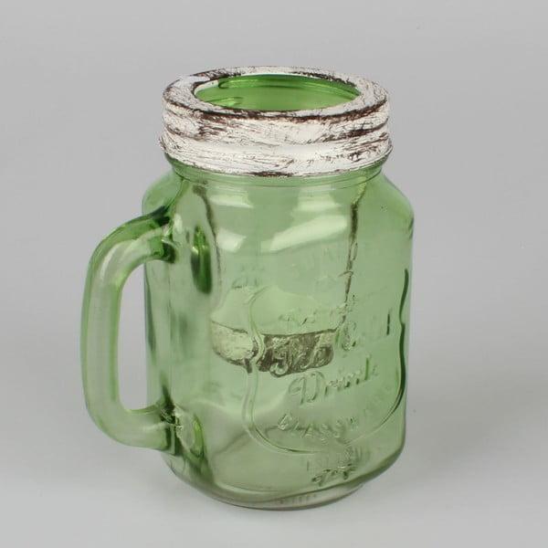 Sfeșnic original din sticlă Dakls, verde