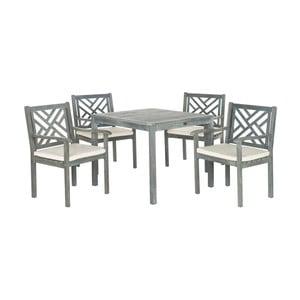 Šedý set dřevěného venkovního stolu a židlí Safavieh Mendoza