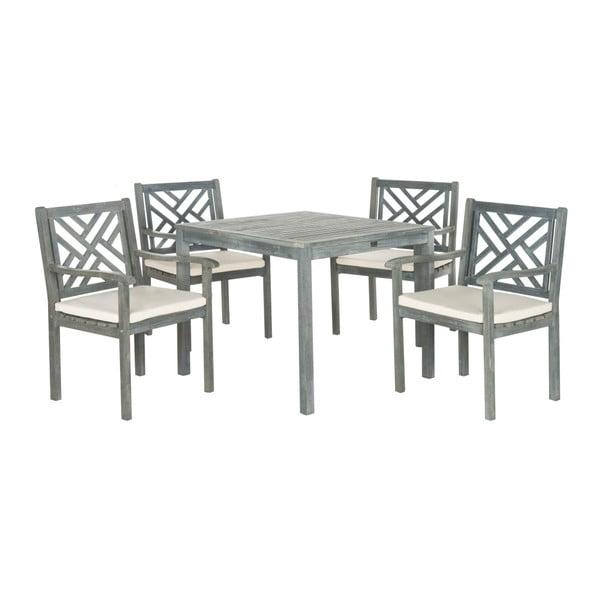 Szary zestaw stołu ogrodowego i krzeseł z drewna akacji Safavieh Mendoza