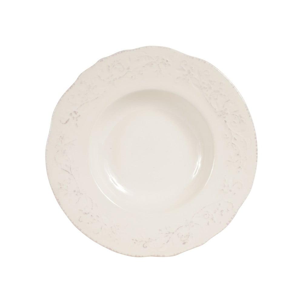 Bílý hluboký talíř Comptoir de Famille Lise, 24,5 cm
