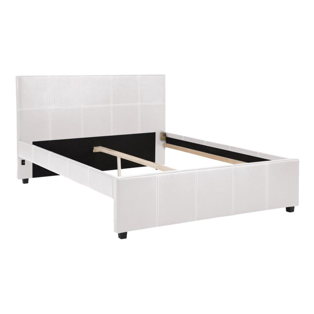 Bílá dvoulůžková postel Støraa Margit, 140 x 200 cm