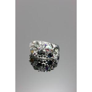 Prsten Ring Swarovski Elements Jet, velikost S