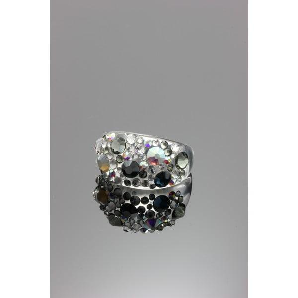 Prsten Ring Swarovski Elements Jet, velikost L