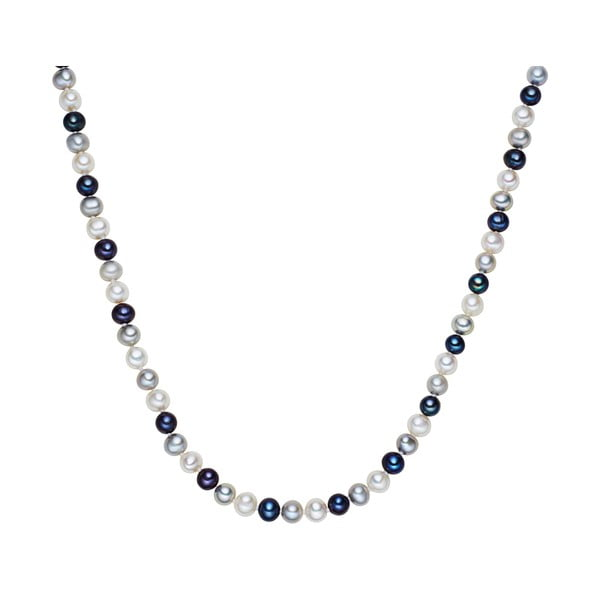 Bílo-modrý perlový náhrdelník Chakra Pearls, 90 cm