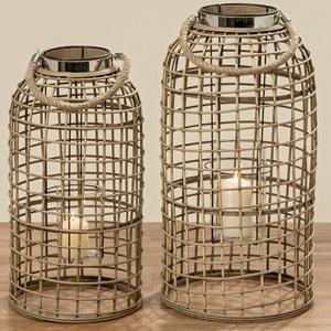 Sada 2 bambusových svícnů Boltze Tobaco