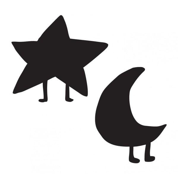 Sada 2 černých nástěnných popisovatelná samolepek Chalk Star and Moon