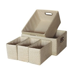 Sada 5 úložných krabic Laroom Beige