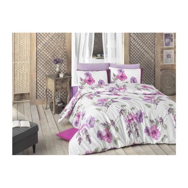 Lenjerie de pat din bumbac cu cearșaf și fețe de pernă Viote, 200 x 220 cm