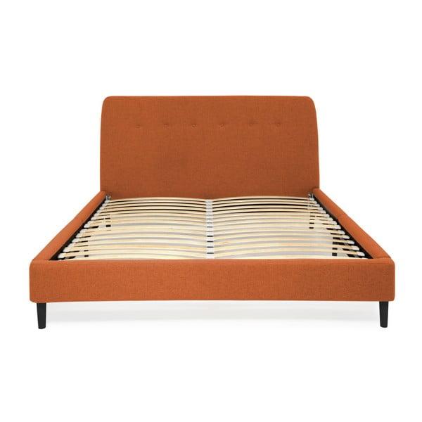 Oranžová dvoulůžková postel s černými nohami Vivonita Mae Queen Size, 160 x 200 cm