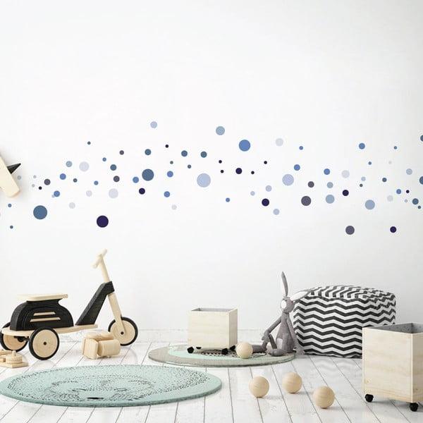 Sada 100 modrých nástěnných samolepek Ambiance Round Stickers