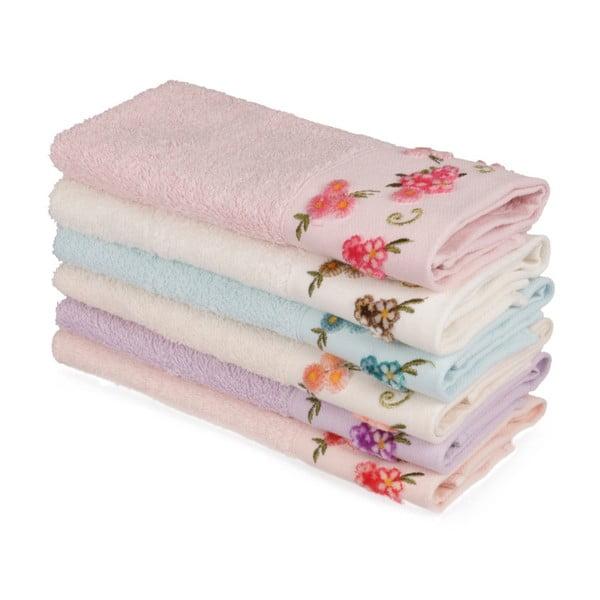 Sada 6 barevných ručníků z čisté bavlny Floralisa, 30 x 50 cm