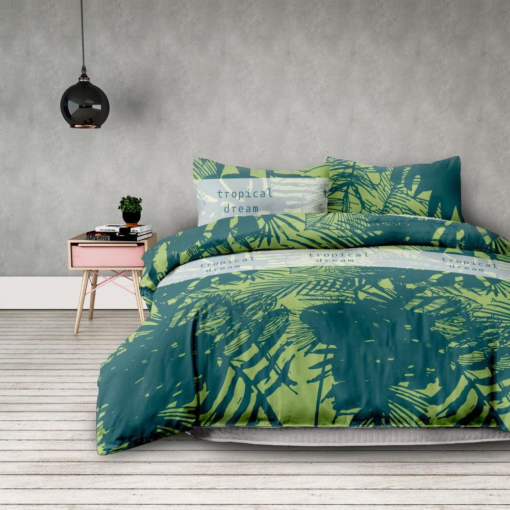 Produktové foto Sada bavlněného povlaku na peřinu a 2 povlaků na polštáře AmeliaHome Averi Rainforest, 200 x 220 cm + 70 x 80 cm
