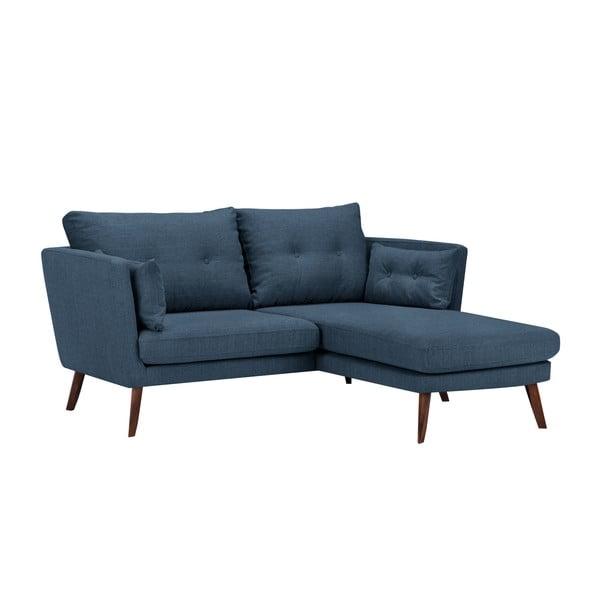 Modrá třímístná pohovka Mazzini Sofas Elena, slenoškou na pravém rohu