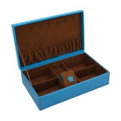 Modrá šperkovnice Friedrich Lederwaren Baccara, 30x19cm