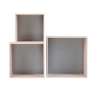 Sada 3 šedých poliček Nørdifra Cubes