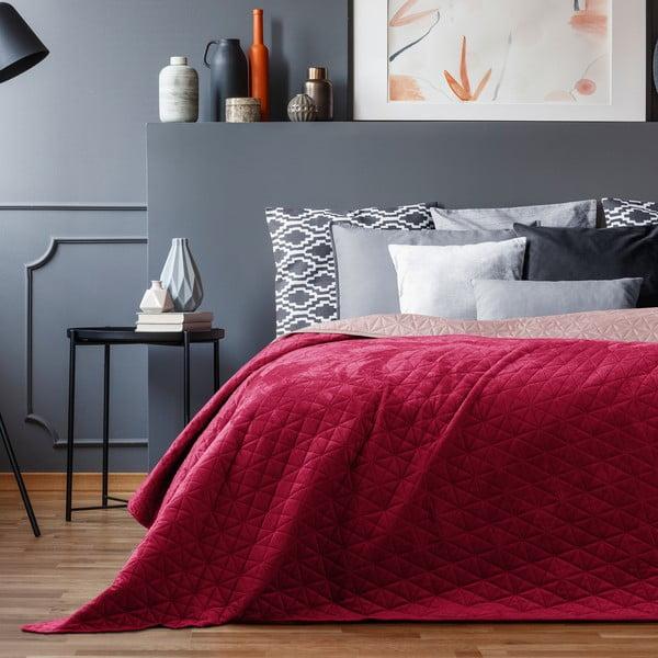Czerwona aksamitna narzuta AmeliaHome Laila Mauve, 220x240 cm