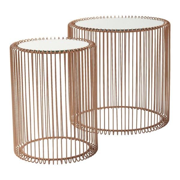 Sada 2 odkládacích stolků v dekoru mědi Kare Design Wire High