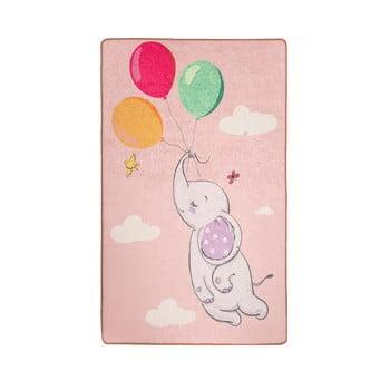 Covor antiderapant pentru copii Chilai Balloons,140x190cm, roz imagine