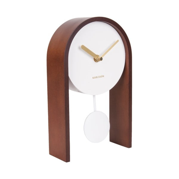 Stolové hodiny s brezovým drevom Karlsson Smart Pendulum Dark