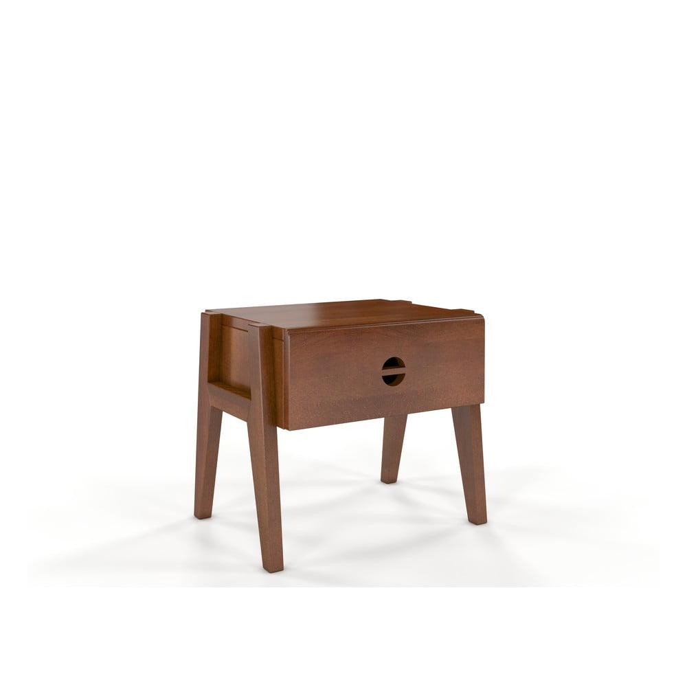 Noční stolek z bukového dřeva se zásuvkou v ořechovém dekoru Skandica Visby Radom