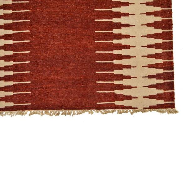 Ručně tkaný koberec Red ZigZags, 140x200 cm
