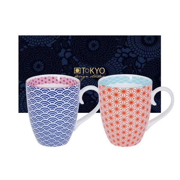 Zestaw niebieskiego i czerwonego kubka Tokyo Design Studio Star/Wave, 380ml