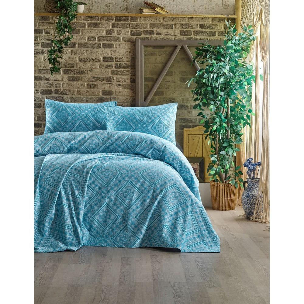Set přehozu a 2 povlaků na polštáře EnLora Home Swuare Light Blue, 240 x 220 cm
