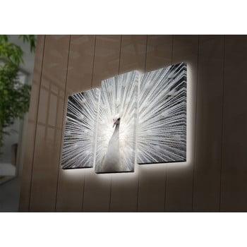 Tablou din 3 piese cu LED-uri Peacock de la Unknown