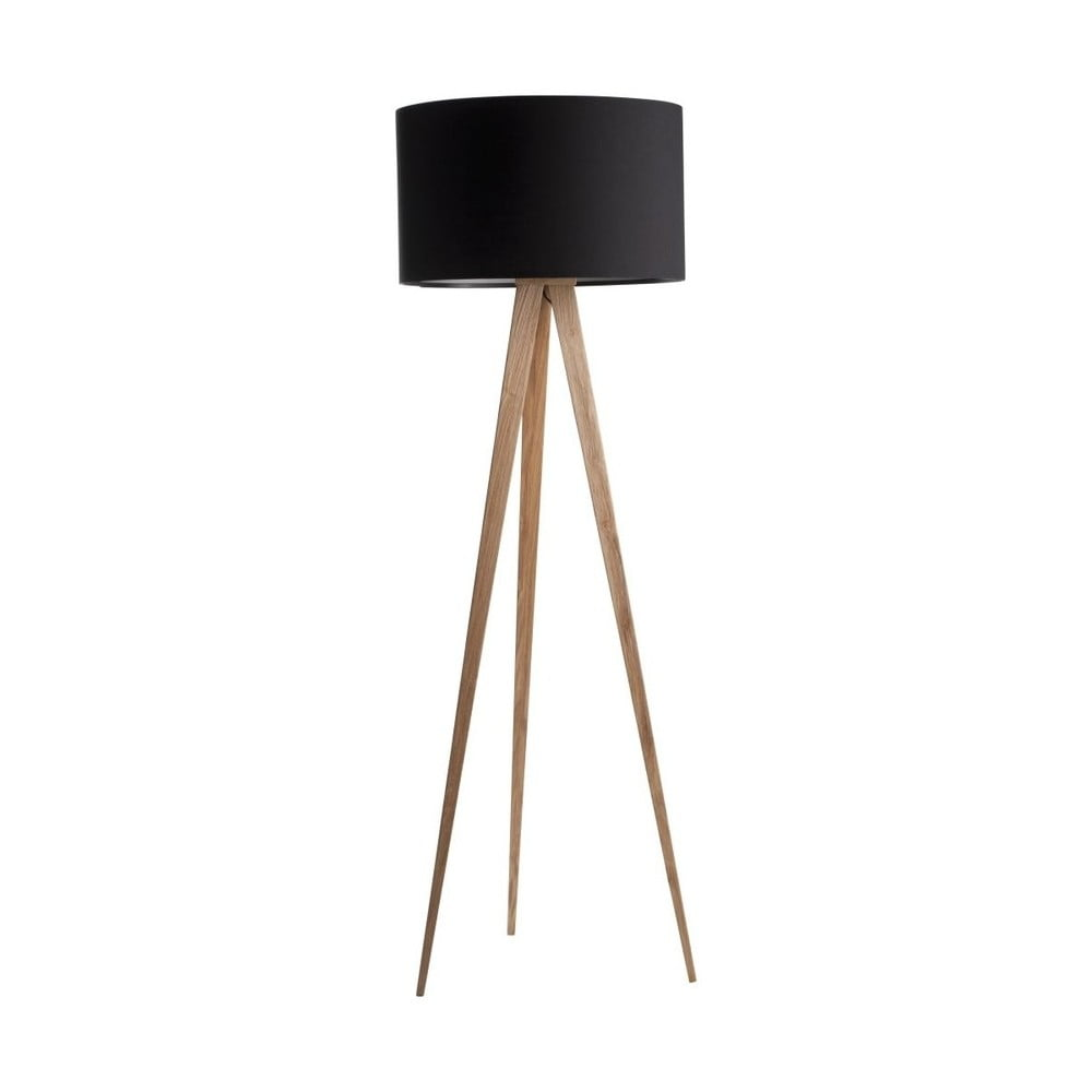 Černá lampa s dřevěnými nohami Zuiver Tripod Wood Zuiver