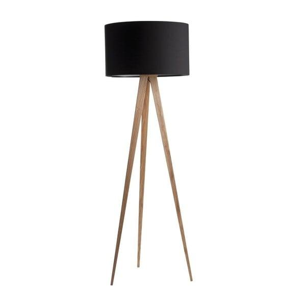Čierna lampa s drevenými nohami Zuiver Tripod Wood
