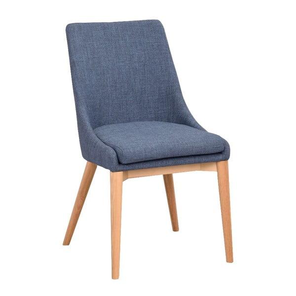 Modrá polstrovaná jídelní židle s hnědými nohami Rowico Bea