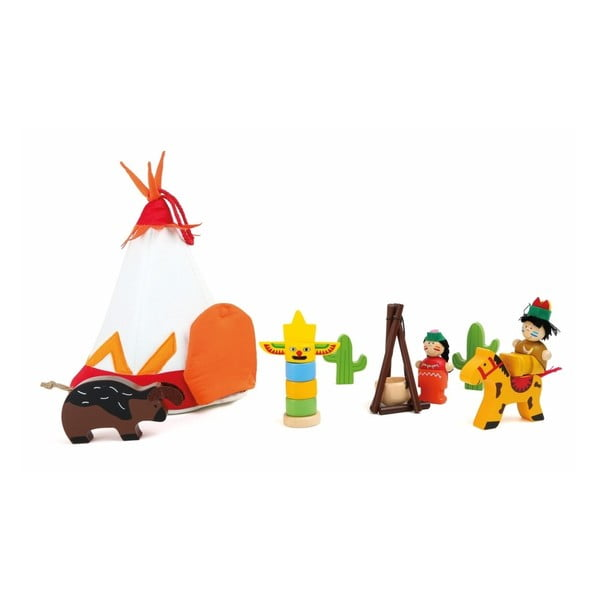 Domeček na hraní s dřevěnými figurkami Legler Indian