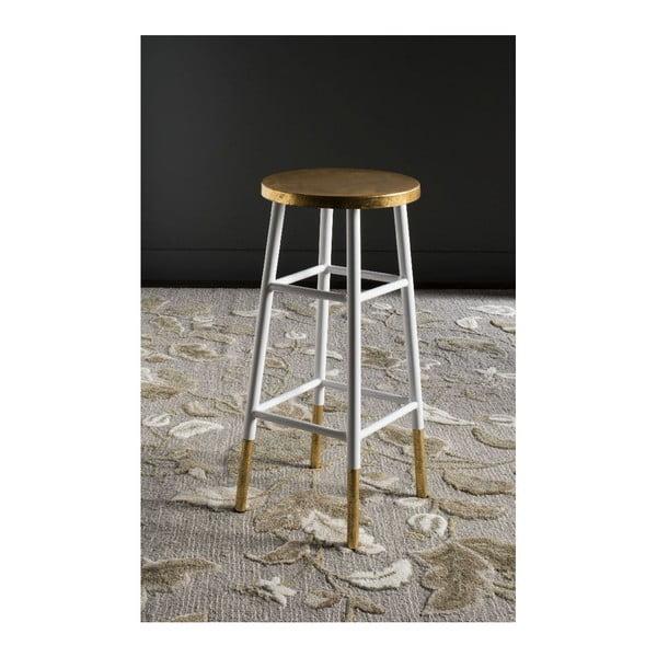 Barová stolička Antony, bílo-zlatá